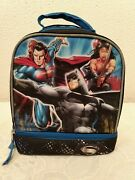 Marvel Batman Superman Lunch Bag Dual Insulated Thermos Zip Compartments 9 X 8