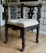 Antique Hand Carved Three Corner European Chair With Two Fabulous Cherubs