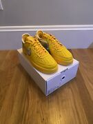 New   Authentic   Nike X Off-white Air Force 1 University Gold Sz 9   Dd1876-700