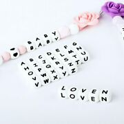 15/36/100/200/500/1000pcs Letter Silicone Beads 12mm Baby Teether Beads...