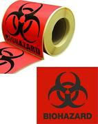 Lot 4 X 4 Biohazard Warning Decal Sticker Medical Safety 250 Labels /roll