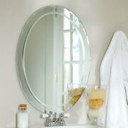 Oval Frameless Bathroom Vanity Wall Mirror With Beveled Edge Scallop Border