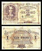 Belgium 1 Franc 1915 P-86a Rare Germany Occupation Wwi Banknote