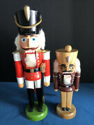 Vintage Erzgebirge Nutcrackers Made In Germany 2 Wooden Soldiers With Stickers