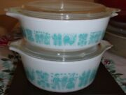 Vntg Pyrex Turquoise On White Butterprint 471 And 472 Round Casseroles W Lids Vguc