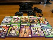 🔥 Black Xbox 360 Elite With Kinect -2 Controllers And10 Games Good Condition🔥