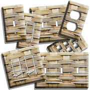 Beige Bamboo Wicker Style Light Switch Outlet Wall Plates Kitchen Bathroom Decor