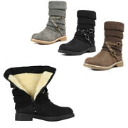 Womens Winter Mid Calf Boots Warm Faux Fur Lined Snow Boots Shoes Size 5-11 Us