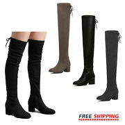 Womens Over The Knee Boots Thigh High Mid Heel Chunky Heel Party Boots Size 5-11