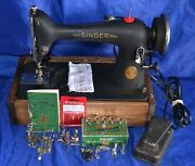 Singer 66-18 Electric Sewing Machine Serviced Sews Heavy Material Has Reverse