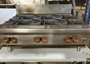 Reconditioned Wolf 6 Burner Counter Top Stove Natural Gas Commercial Tested