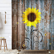 Rustic Sunflower Shower Curtain, Farmhouse Country Fall Autumn Floral Flower On