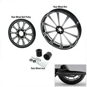18 X 5.5and039and039 Rear Wheel Rim And Hub Andbelt Pulley Sprocket Fit For Harley Flhr 08-21