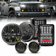 7and039and039 Round Led Headlightsandturn Signalsandtail Lights For Jeep Wrangler Jk 2007-2017