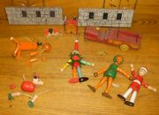 Jaymar Wood Jointed Figures And Wood Fire Truck Little Orphan Annie Sandy Wolf