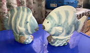 """🐠lot Of 2 Tropical Fish Sculptures 7 1/2""""tall X 8 1/2""""wide. Pre-loved."""