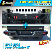 Front And Rear Bumper For 2019-2021 Jeep Gladiator Jt Steel Towing Hooks Led Light