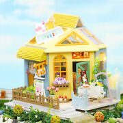Wood Dollhouse With Furniture Kit Cottage 3d Puzzles For Girls Gift Toy B