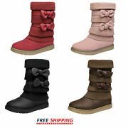 Girls Toddlers Kids Bow-knot Snow Boots Faux Fur Lined Fashion Mid Calf Boots