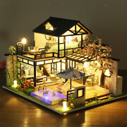 Wood Dollhouse Furniture Led Light Doll House 3d Puzzles Villa House Gift