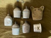 Us Military Wwll Canteen Lot Of 5 Canteens One Case And One Cup 1943-1945