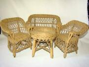 Antique Victorian Set Small Wicker Doll Or Teddy Bear Furniture