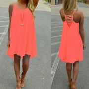 Flowy Loose Fit Sleeveless Summer Dress Neon Coral Pink Women's Size Large