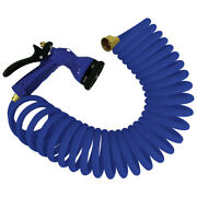 Whitecap 25and039 Blue Coiled Hose W/ Adjustable Nozzle Marine Boat Cleaning P-0441b
