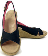 Crocks Women's Slingback Cork Wedge Sandals Shoes Size 9w Black And Pink