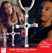 925 Sterling Silver Fast And Furious Dominic Toretto Cross Pendant Necklace Gift