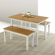 Dining Two Set Benches Piece Table Modern Furniture Room U_style Wood Metal Soli