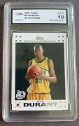 Kevin Durant 2007 08 Topps 112 Rc Rookie Gma 10 Seattle Supersonics