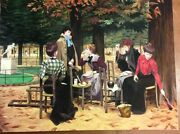 N Henry Bingham Large Signed Oil Painting On Canvas 36x48 Victorian Women Picnic