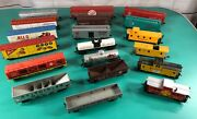 Lot 19 Ho Scale Train Cars Boxcars Caboose Tankers Ore Cars + Odd Pieces