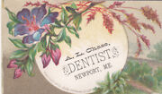 Dr A L Chase Dentist Newport Maine Flowers Fields Dental Work Vict Card C1880s