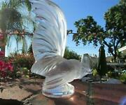 Magnificent Lalique France Crystal Highly Detailed Coq Nain Rooster Figurine