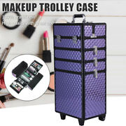 4 In 1 Cosmetic Makeup Nail Hairdressing Beauty Case Purple Trolley With Locks