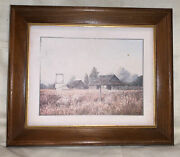 1970s Gene Speck Framed Rustic Barn And Farm Landscape Reproduction Print