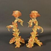 Pair Of Pomp Murano Glass Candle Holders With Rose Gold And Leaves Vintage 1965