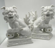 Pair Of White Porcelain Chinese Foo Dogs Fitz And Floyd Bookends Mantle Accessory