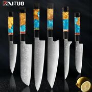 Damascus Stainless Steel Kitchen Knives Set High Quality Chef Knife Cleaver Pari