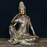 13.1 Exquisite Chinese Old Antique Mark Bronze Free Guanyin Buddha Statue