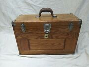 Vintage Oak Machinist Tool Boxandnbsp- 7 Drawer Union Chest - With Key