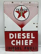 3-5-60 Original And039and039texaco Diesel And039and039 Pump Plate 12x18 Inches Porcelain Sign Usa