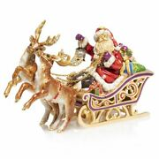 Jay Strongwater Santa And Reindeer Musical Sleigh 14k Gold Sdh1918-250