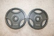 35 Lb Weight Plates Pair, Olympic, Used, Fitness Gear, Silver
