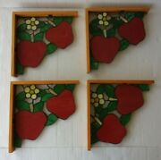 Lot/4 Stained Glass Corner/shelf Wood Brackets-red Apples/leaves/blossoms 11