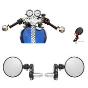 2pc Foldable Motorcycle Round 7/8 Mirrors Folding Bar End Side Rear View Mirror