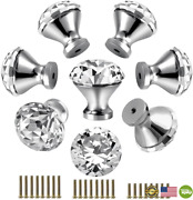 30mm Kitchen Cabinet Knobs Drawer Pull Handle Hardware, Crystal Clear Glass Roun