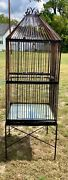 Antique Vtg Large Scrolled Iron Bird Cage Birdcage Stand Parrot Doors Will Ship